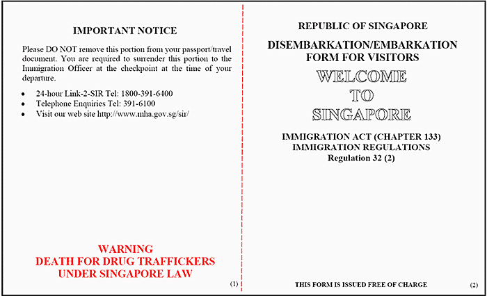 immigration card singapore